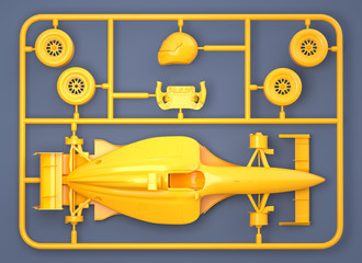 Model kit set with sport car parts