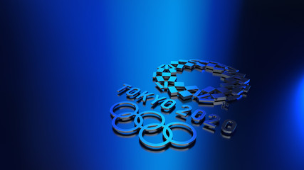 Kiev, Ukraine - January 15, 2020: Official logos 3d rendered of the 2020 Summer Olympic Games in Tokyo. Sport background.