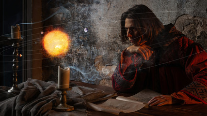 History of science, concept. Nicholas Copernicus author of the heliocentric system of the world, Fototapete