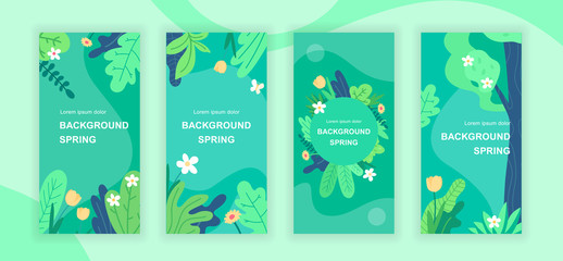 Spring abstract social media stories design templates vector set, backgrounds with copyspace - greenery, landscape - backdrop for vertical banner, poster, greeting card - spring nature concept Wall mural