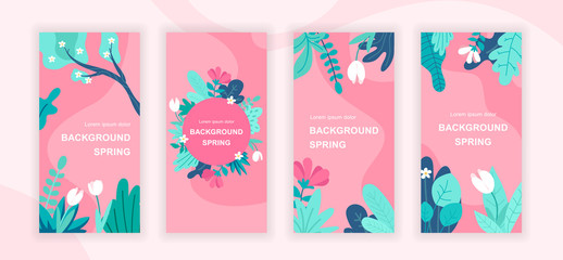 Spring plants social media stories design templates vector set, backgrounds with copyspace - seasonal flowers - backdrop for vertical banner, poster, greeting card - spring nature concept Wall mural