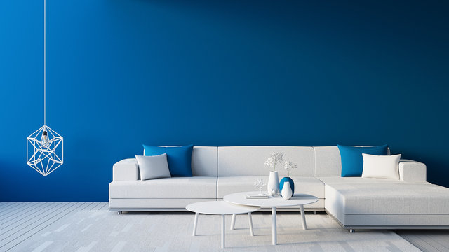 Classic Blue Interior / Color of The Year for living and interior / 3D rendering
