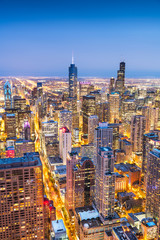 Wall Mural - Chicago, IL, USA Aerial Cityscape at Twilight