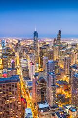 Fototapete - Chicago, IL, USA Aerial Cityscape at Twilight