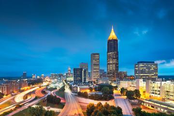 Fototapete - Atlanta, Georgia, USA Downtown Cityscape at Night