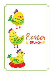 Greeting card poster Happy Easter. Lettering Easter brunch. Illustration of funny chickens in a frame. Children's picture postcard.