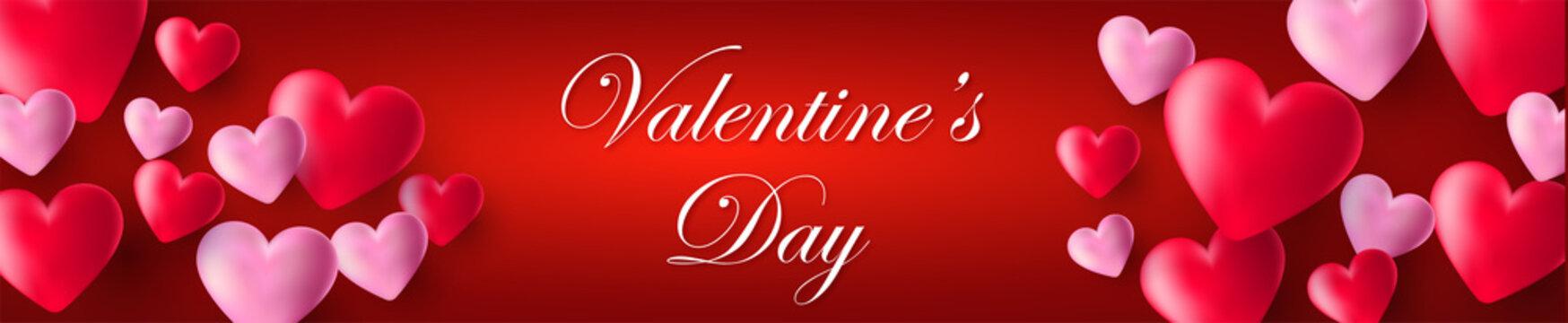 bandeau ou carte  valentine's day avec coeur rouge et rose sur fond rouge en dégradé