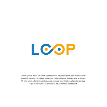 Simple and unique word mark loop idea logo design template vector illustration