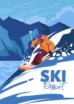Skier on mountains, freeride, ski resort. Vector illustration