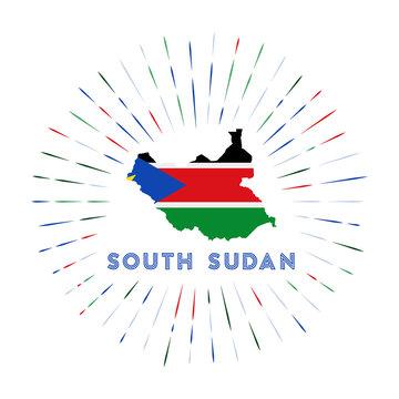South Sudan sunburst badge. The country sign with map of South Sudan with South Sudanese flag. Colorful rays around the logo. Vector illustration.