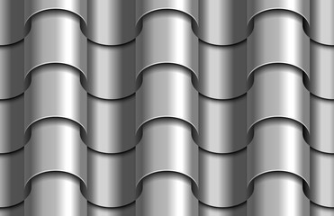 Seamless texture of silver corrugated waves rooftop background. Repeating gray pattern of silver metal tube roof tiles