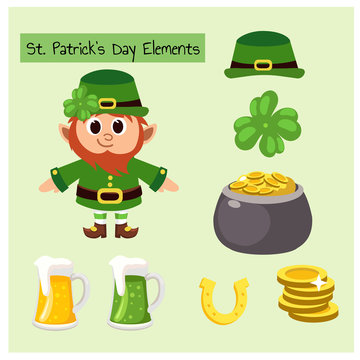 Set vector illustration of St.Patrick's Day Elements and Cute mascot Character. 4-leaf clover, gold pot , gold horseshoe, mug of beer,golden coin,green hat.