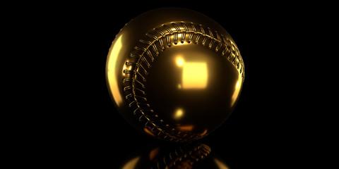 Golden baseball ball on black background. 3d render.
