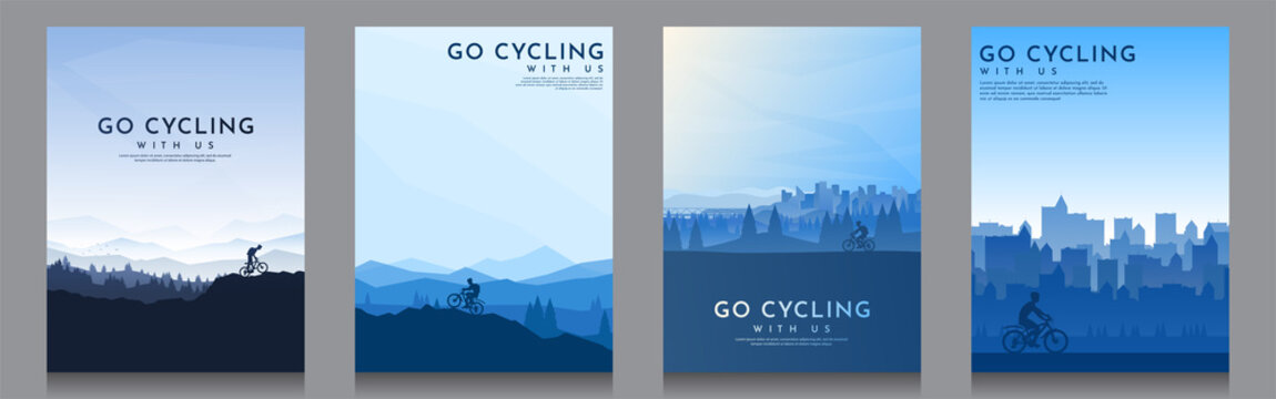 Mountain bike. Travel concept of discovering, exploring and observing nature. Cycling. Adventure tourism. Minimalist graphic poster. Polygonal flat design for cover, gift card, invitation, banner.