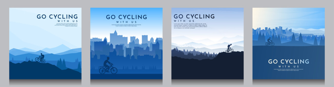 Mountain bike. Travel concept of discovering, exploring and observing nature. Cycling. Adventure tourism. Flat graphic polygonal landscape. Minimalist design for social media, poster, square banner