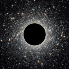 Papiers peints Univers Black hole in universe. Wormhole and stars in outer space. Galaxy center with big black hole in deep cosmos. Space and science concept for background.
