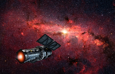 Spaceship flying to galaxy in universe. Mystery galaxy like nebula in outer space. Spacecraft on background of deep cosmos. Future space explorations concept.