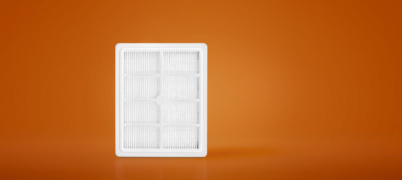 High efficiency air filter for HVAC system. new filter. Taking care of human health. fight against allergies and dangerous particles.