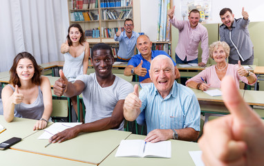 Group  different ages satisfied results exam