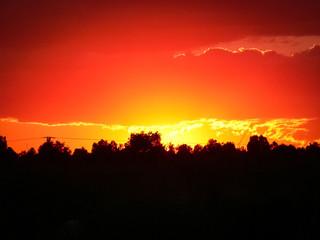 Tuinposter Rood Sunset at Santa Pola, Spain
