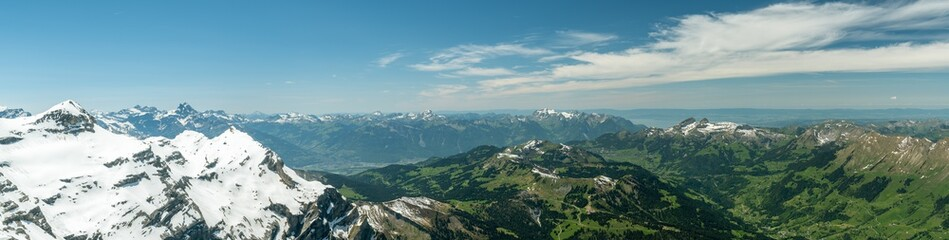 Foto op Canvas Donkergrijs View on beautiful Swiss Alps with from top of Scex Rouge