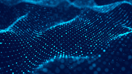 Fototapeta Wave of particles. Abstract blue background with a dynamic wave. Big data visualization. 3d rendering.