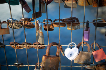 White Heart Padlock amidst Padlocks on Fence on the Waterfront in Auckland New Zealand