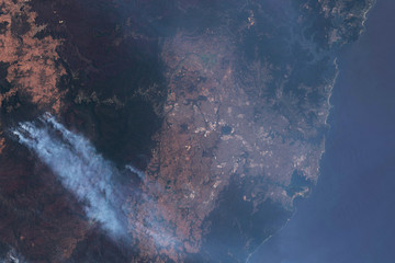 Satellite image of bushfires in Australia with smoke covered Sydney in January 2010 - contains modified Copernicus Sentinel Data (2019)