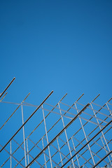 Metal Structure against Clear Blue Sky with Copy Space Vertical