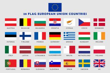 Set of European Union Countries Flag  Fotomurales