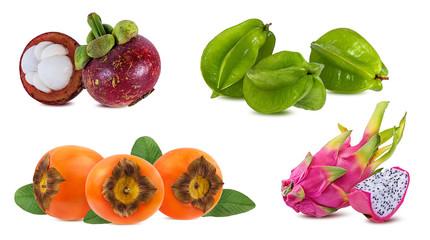 Fototapete - Mangosteen,carambole,dragon fruit,persimmon   isolated on white background