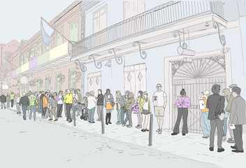 Hand drawn illustration. At the famous Preservation Hall landmark in New Orleans, Louisiana, people wait in line to see live Jazz music. Full color drawing.