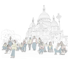 Hand drawn illustration. At the Sacre Coeur Cathedral in Paris, people sit on the steps and enjoy the day.  People in color.