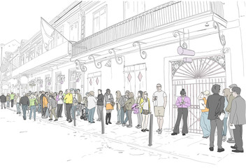 Hand drawn illustration. At the famous Preservation Hall landmark in New Orleans, Louisiana, people wait in line to see live Jazz music. People in color.