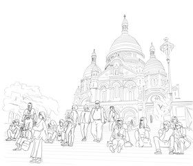 Hand drawn illustration. At the Sacre Coeur Cathedral in Paris, people sit on the steps and enjoy the day.  Black and white.