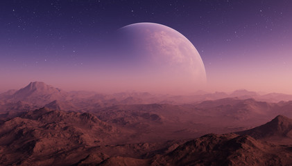 3d rendered Space Art: Alien Planet - A Fantasy Landscape with purple skies and stars