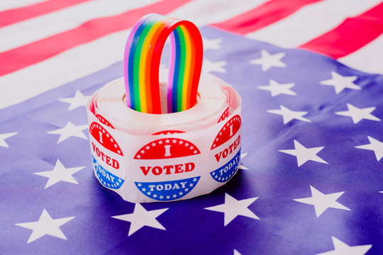 Concept of vindication of gay rights to American politicians in elections.