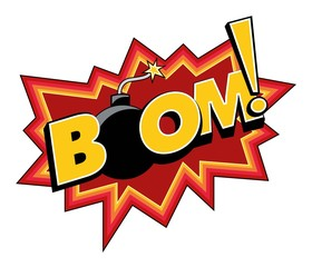 vector art comic boom explosion sticker with a bomb