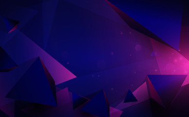 Wall Mural - Abstract 3d chaotic low poly shapes. Flying polygonal pyramids and technology futuristic background