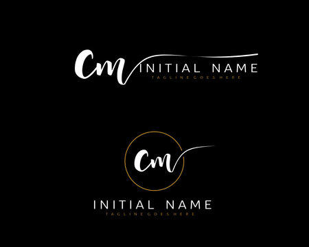 C M CM Initial handwriting logo vector. Hand lettering for designs.