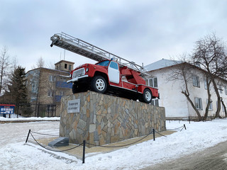 Kyshtym, Russia, January, 15, 2020. Monument to the fire engine in the city of Kyshtym in winter. Russia, Chelyabinsk region