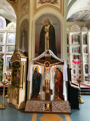 Kyshtym, Russia, . Crucifixion of Christ in the Cathedral of the Nativity in Kyshtym, Chelyabinsk region