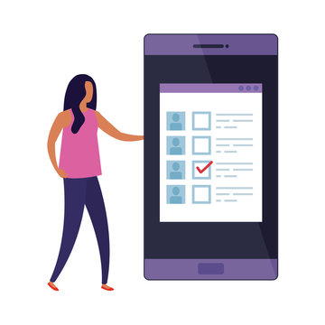 business woman with smartphone for vote online design