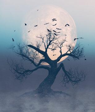 Dead tree scene for halloween,3d rendering