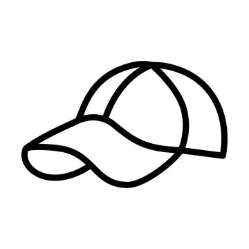 Baseball cap icon design template, vector icon designed in line style, editable stroke icon on white background, can be used for web and various needs of your project