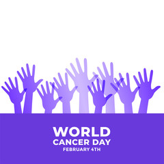 raised hands for world cancer day awareness