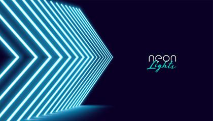 neon perspective directional arrow lights background design