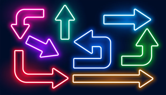 set of neon glowing colorful arrows design