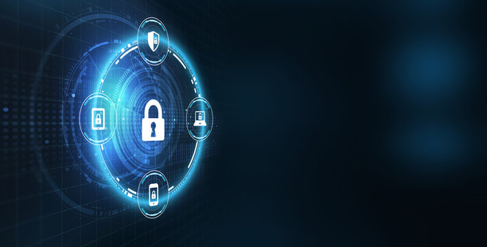 Cyber security data protection business technology privacy concept. Icon security on the virtual display.
