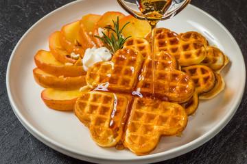 ワッフル Waffles of Dutch, French and Belgian foods